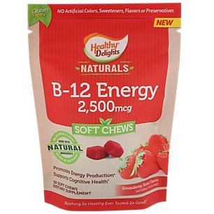 Healthy Delights Naturals Vitamin - B-12 Energy Soft Chews - 2,500 MCG - Strawberry Burst (30 Soft Chews)