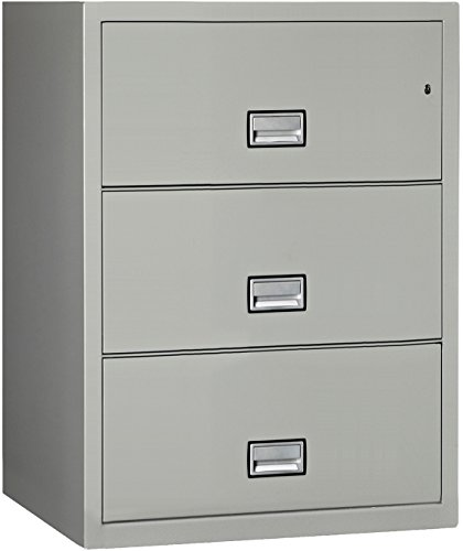 Phoenix Lateral 31 inch 3-Drawer Fireproof File Cabinet with Water Seal - Light Gray ()