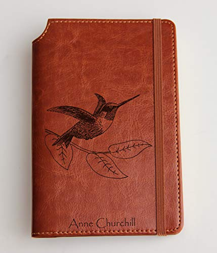 (Hummingbird journal Journal with Custom text or custom initials engraved Journal leather bound, strip with the same color to keep it closed, snake, crown)