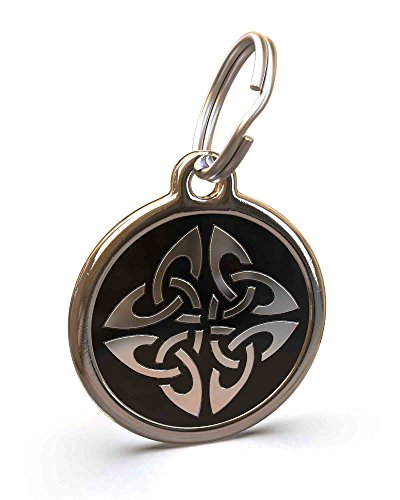 UNLEASHED.DOG Customizable Engraved Dog ID Tag - Stainless Steel with Triquetra Enamel Inlay - Black | Medium