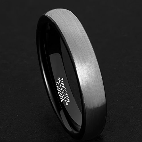 MNH Mens Rings Tungsten Carbide Black Plated Women Wedding Engagement Band Comfort Fit Matte Finish by MNH (Image #3)