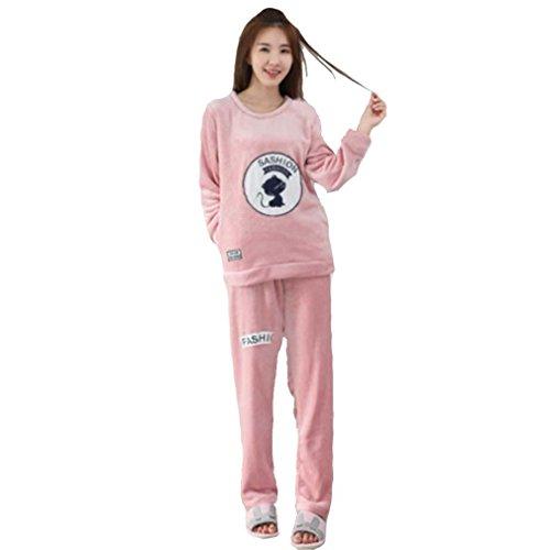 MOXIN Ragazza invernale flanella tenere caldo pigiama casual cardigan casa abbigliamento manica lunga pantaloni due pezzi set Rosa. , 6074 , m