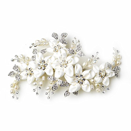 Weddings Freshwater Pearl & Rhinestone Ivory Fabric Flower Bridal Hair (Silver Brides Basket)