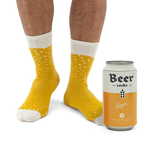 Novelty Beer Socks - Colorful Socks for Men, Made from Soft Cotton Nylon -  Funny Socks for Men, Crazy Socks in Beer Can, Yellow Lager (Best Beer In London)