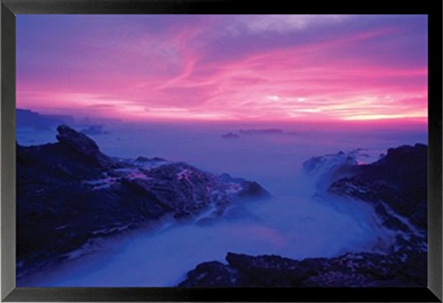 FRAMED Eugenena Cove by William Hartshorn 36x24 Photographic Art Print Poster Coastal Beautiful Sunset Sunrise Rocky Shore (Print Photographic Sunset)