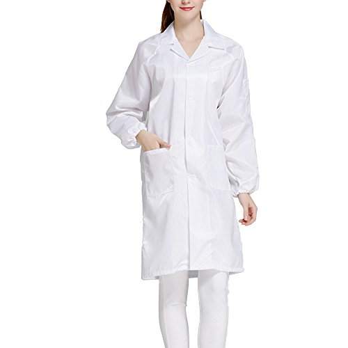 Esd Lab - Calunce Button Up Lapel CollarESD / Anti Static Overalls Coat Lab Coat (L, white)