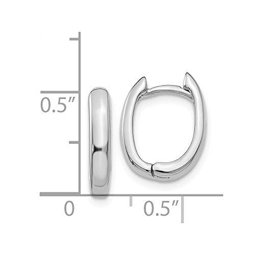14k White Gold Oval Hinged Hoop Huggie Earrings (0.4IN x 0.5IN)
