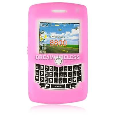 Hot Pink Gel Silicone Skin Case For Blackberry 8800
