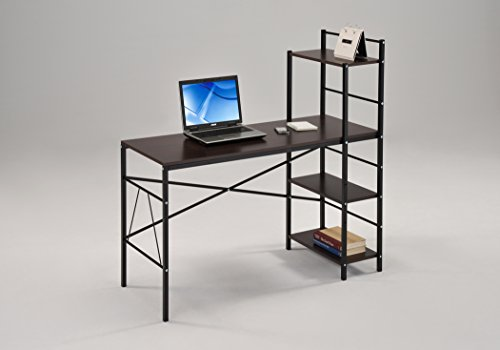 Espresso Wood Finish Black Metal Computer Desk PC Laptop Table Workstation Home Office with 4-tier (Black Finish Metal Computer)