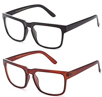 Newbee Fashion - Unisex Squared Frame Plain Clear Lens Fashion Glasses for Men & Women