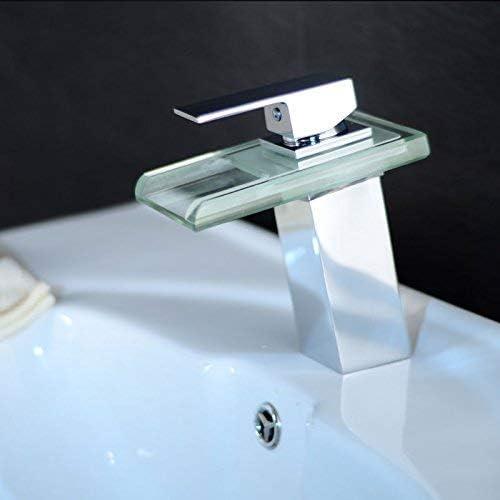 S-TING 蛇口 蛇口、現代のラウンド滝Dwarfquality保証とシンプルなクラシックRETRを変更流域の滝の蛇口の温度制御ガラスツェッペリン単穴4つのヘッドランプの蛇口アート盆地の色 水栓金具 立体水栓 万能水栓