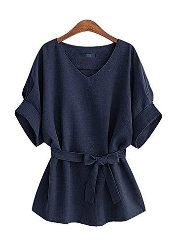 ARJOSA Women's V-Neck Batwing Sleeve Bowknot Cotton Linen Blouse Tops (M, ()