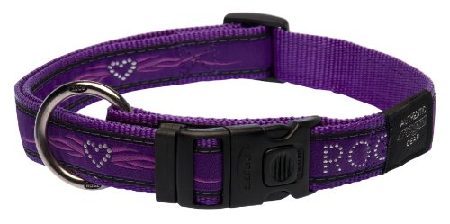 "Rogz Fancy Dress Extra Large 1"" Armed Response Side-Release Fashion Dog Collar, Purple Chrome Design"