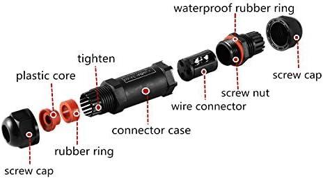 Moobom 4 pi/èces Bo/îte de Jonction IP68 Connecteur /Étanche 3 Voies Connecteurs Bo/îtier /Électrique Ext/érieur Connexion Sleeve Coupler pour /Ø 5.5 mm-10.2 mm Diam/ètre du-Noir
