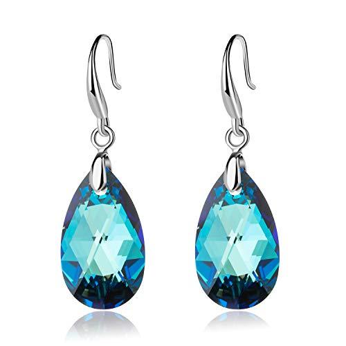 (EVEVIC Swarovski Crystal Teardrop Dangle Hook Earrings for Women Girls 14K Gold Plated Hypoallergenic Jewelry (Bermuda Blue))