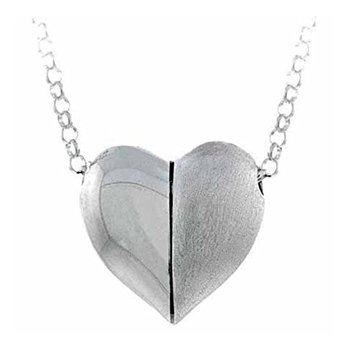 Glitzs Jewels Sterling Silver Satin Rolo Link Chain Puffed Heart Necklace 16''