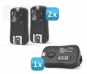 Impulsfoto Pixel Pawn TF-364 - Set de disparador remoto inalámbrico de flash (incluye 2 receptores de hasta 100 metros para flashes de Panasonic, Leica y Olympus)