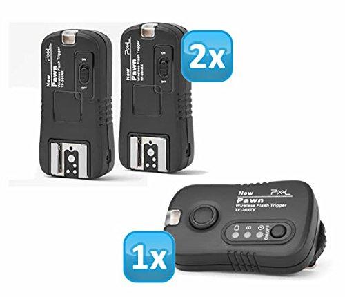 Pixel Pawn TF-364 Funk Blitzausloeser Set mit 2 Empfaengern bis 100m fuer Panasonic, Leica und Olympus Blitzgeraete - Funkausloeser Kamera- und Blitz