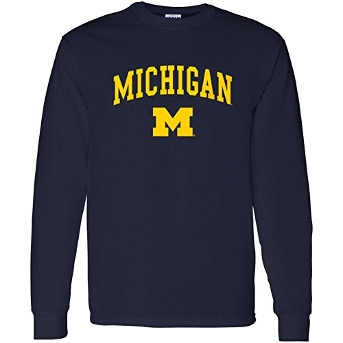 2001 Wisconsin Football - Michigan Wolverines Arch Logo Long Sleeve - Medium - Navy
