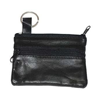 Marshal Women's Leather Change Purse with Key Ring, Black