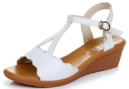 Aisun Damen Bequem T-Spange Cut-Out Zehenfrei Keilabsatz Schnalle Sandalen Weiß