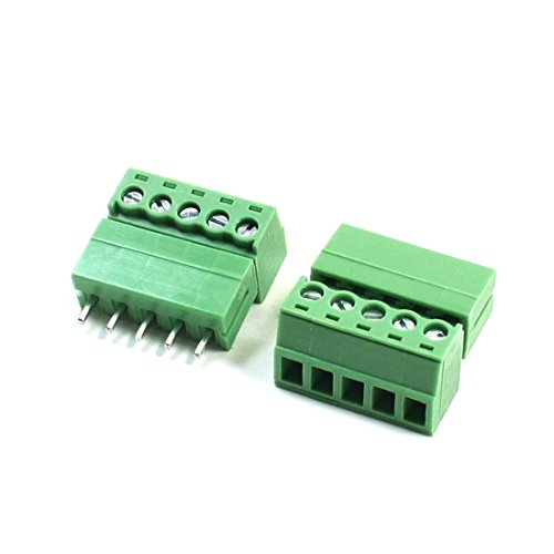 2 Pcs 3.81mm Pitch 22-16AWG 5P Pluggable Type PCB Screw Terminal Block