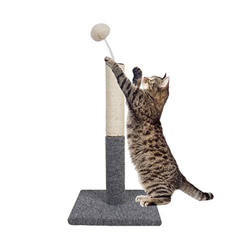 Dimaka Cat Scratching Carpet Post with Top Tease Toy Ball, Sisal Pole Post and Carpet Covered Base, Vertical Scratch…