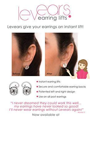 40a665eb7 Amazon.com: Levears 14K White Gold Pierced Ear Lobe Earring backs Lifts  Support Post/Stud: Jewelry