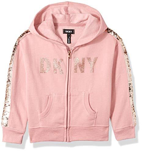 DKNY Girls Sequin Zip Up Hoodie,