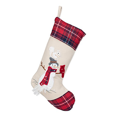 Plaid Top Hat (19 inch Squirrel on Snowman Top Hat Embroidered Christmas Stocking with Red Plaid Cuff)
