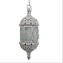 1PC Vintage Metal Hollow Candle Holder Wedding Lanterns Moroccan Hanging Candle Lanterns Christmas Candlestick White Gold With 44cm Chain