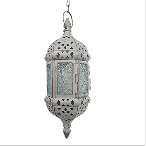(1PC Vintage Metal Hollow Candle Holder Wedding Lanterns Moroccan Hanging Candle Lanterns Christmas Candlestick White Gold With 44cm Chain)