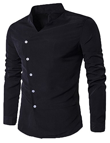 Modfine Men's Fashion Casual Long Sleeve Slim Fit V Collar Irregular Button Down Dress Shirts (Goth Buttons)