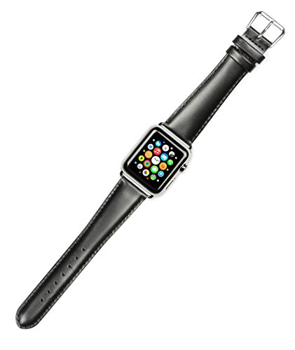 Mens Coach Sports Series Watch (Debeer Replacement Watch Strap - Stage Coach Leather - Black - Fits 38mm Apple Watch [Black Adapters])