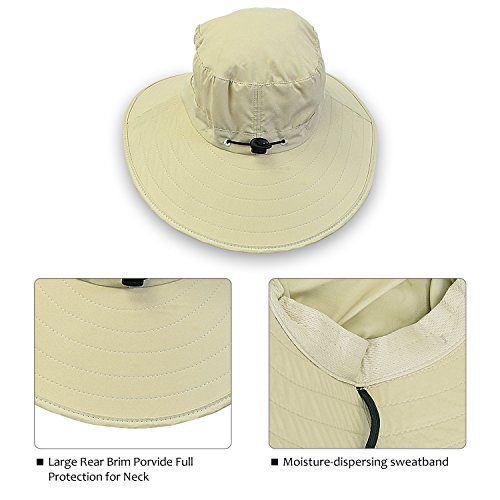 ba6ad3196c767 Tirrinia Unisex Sun Hat Fishing Boonie Cap Wide Brim Safari Hat with  Adjustable Drawstring for Women Kids Outdoor Hiking Hunting Boating Desert  Hawaiian