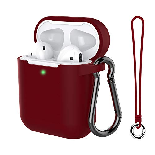 Airpods Case, Music tracker Protective Thicken Airpods Cover Soft Silicone Chargeable Headphone Case with Anti-Lost Carabiner for Apple Airpods 1&2 Charging Case (Burgundy)