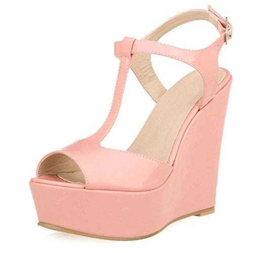 Pink Women's HooH Platform Buckle Strap Wedge Sandals T xOwR0qdfw