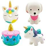 Vanely 4Pcs Slow Rising Jumbo Squishies Unicorn Cake,Uincorn Donut,Unicorn Horse,Pink Dog Pack Kawaii Cream Scented Soft Squeeze Novelty Toy Stress Relief Hop Props Sensory Toys