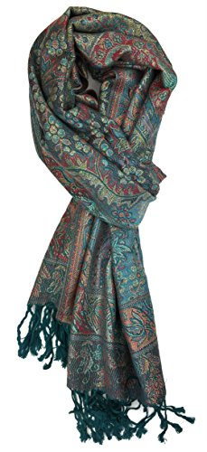 Plum Feathers Tapestry Ethnic Paisley Pattern Pashmina Scarf (Teal Tapestry)
