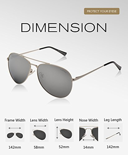 06737bcc4c LUENX Sunglasses Aviator Polarized for Men   Women with Case - 400 UV  Silver Lens Metal