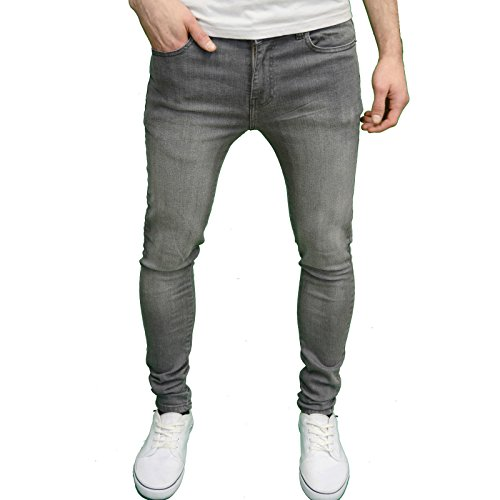 Enzo Mens Designer Branded Super Stretch Skinny Fit Jeans (36W x 30L, Grey)