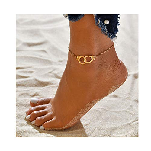 WLLAY Bohemian Vintage Freedom Handcuffs Ankle Bracelet on The Leg Barefoot for Women Girls Party Jewelry Gift (Gold)