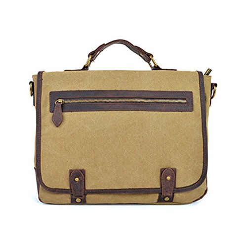 Men Women Body Bag Green Briefcase Messenger arm Shoulder Khaki Canvas Cross Laptop Paonies U6wq5f