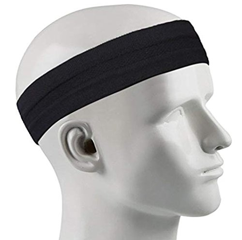 KANKOO Fascia per capelli Sport Fascia per capelli Fascia per capelli nera assorbente per donne e uomini