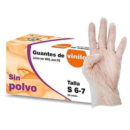 GUANTES DE VINILO SIN POLVO Talla S 10 Cajas X 100 u pack (1000u). Libre de latex.Indicado para manunipulacion de alimentos, seguiridad e higiene. cuatro gasa