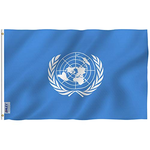 Anley Fly Breeze 3x5 Foot United Nations Flag - Vivid Color and UV Fade Resistant - Canvas Header and Double Stitched - UN International Flags Polyester with Brass Grommets 3 X 5 Ft