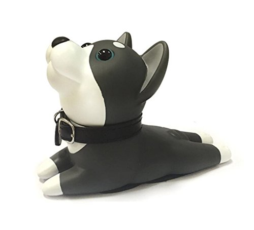 Cute Cat Dog Door Stopper Wedge Non-slip Non-scratching Baby Child Safety doorstop works on all floor surfaces (Black Dog B)