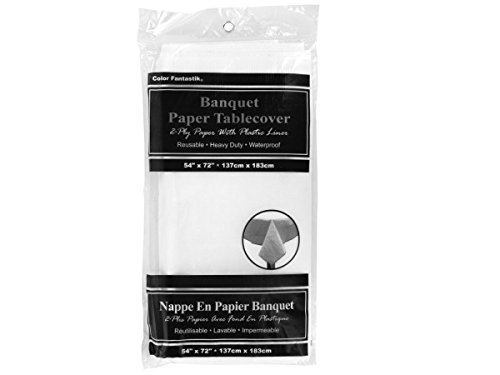 Waterproof White Banquet Paper Tablecover - Pack of 24