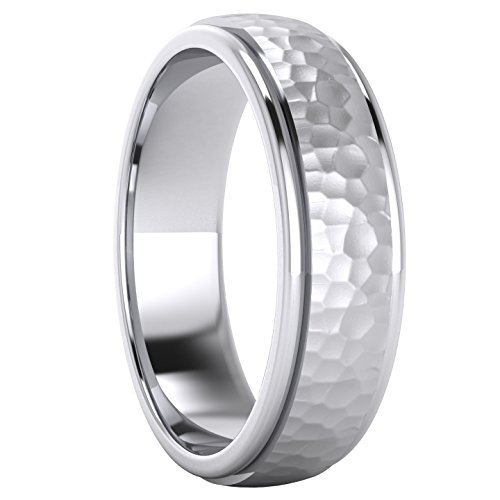 Heavy Solid Sterling Silver 6mm Hammered Unisex Wedding Band Comfort Fit Ring Raised Center Polished Sides (10.5) by LANDA JEWEL (Image #2)