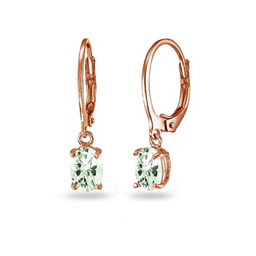 Ring Amethyst Gold Green (LOVVE Rose Gold Flashed Sterling Silver Green Amethyst 7x5mm Oval Dangle Leverback Earrings)